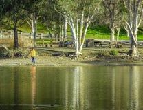 Pêche au lac Photographie stock