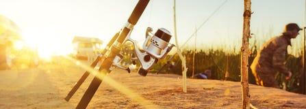 Pêche au lever de soleil Photographie stock libre de droits