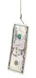 Pêche avec 5 dollars d'amorce de billet de banque sur l'hameçon Images libres de droits