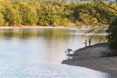 Pêche avec l'ami Image libre de droits