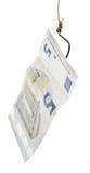 Pêche avec l'amorce de billet de banque de l'euro 5 sur l'hameçon Photo libre de droits