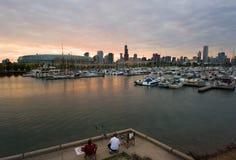 Pêche avec la vue de Chicago Photo libre de droits