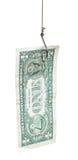 Pêche avec une amorce de billet de banque du dollar sur l'hameçon Photographie stock