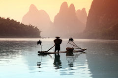 Pêche chinoise d'homme avec des oiseaux de cormorans Photographie stock libre de droits