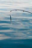 Pêche d'eau de mer - tige avec le wobbler et l'eau de mer bleue Photos libres de droits