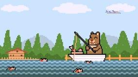 Pêche d'ours d'art de pixel d'animation banque de vidéos