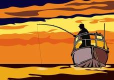 Pêche dans le coucher du soleil Images libres de droits