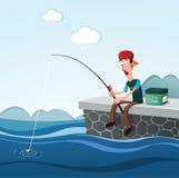 Pêche dans le dock Image stock