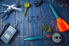 Pêche de carpe Outils pour la pêche de carpe La composition en carpe Photographie stock libre de droits