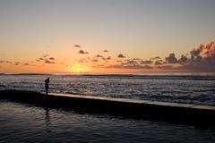 Pêche de coucher du soleil photos libres de droits