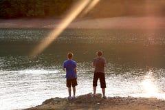 Pêche de coucher du soleil Photo libre de droits