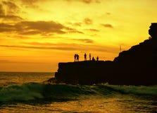Pêche de coucher du soleil Images libres de droits