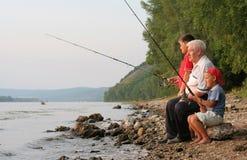 Pêche de famille Photos libres de droits