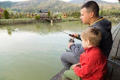 Pêche de famille Photographie stock