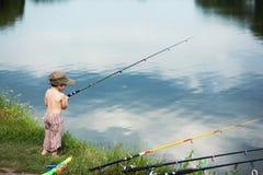 Pêche de garçon Photo libre de droits
