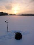 Pêche de glace Photos libres de droits