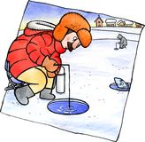 Pêche de glace d'hiver Photo libre de droits
