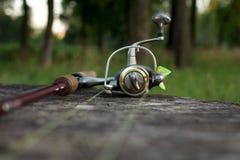 Pêche de l'attrait, de la tige et de la bobine sur le bois Images libres de droits