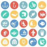 Pêche de l'ensemble d'icône sur le fond de cercles de couleur pour le graphique et la conception web, signe simple moderne de vec illustration stock