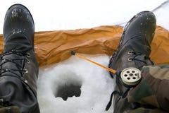 Pêche de l'hiver Image libre de droits