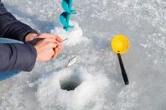 Pêche de l'hiver Photos stock