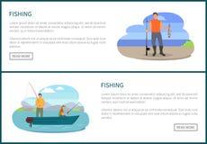 Pêche de l'illustration de vecteur d'hommes d'affiches de pêche illustration de vecteur