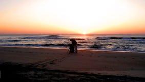 Pêche de lever de soleil Photos stock