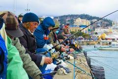 Pêche de masse sur la promenade Image libre de droits