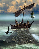 Pêche de miracle Photo stock