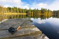Pêche de mouche d'automne Photos stock
