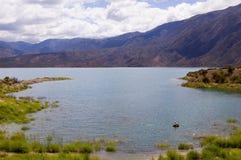 Pêche de mouche dans un lac Photo stock