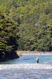Pêche de mouche de pêcheur dans Fiordland Photographie stock
