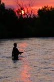 Pêche de mouche le fleuve de Boise Images libres de droits
