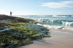 Pêche de mouche sur la côte australienne Photo stock