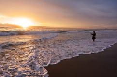 Pêche de pêcheur dans l'Australie de la Gold Coast Queensland Images libres de droits