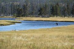 Pêche de pêcheur de deux mouches Photographie stock libre de droits