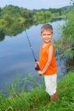 Pêche de petit garçon Image libre de droits