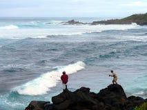 Pêche de vague déferlante Photos stock