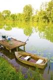 Pêche du bateau d'écorce Photo stock