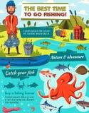 Pêche du sport et de l'équipement d'attirail de crochet de pêcheur illustration de vecteur