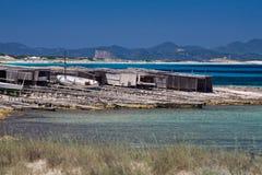 pêche formentera de dock de bateaux Images libres de droits
