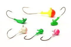 Pêche, hameçon, amorce artificielle, gabarit de pêche sur un fond blanc Photo stock