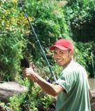 Pêche heureuse Images libres de droits