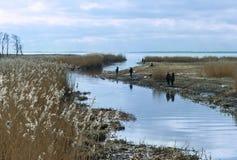 Pêche, pêcheurs, lever de soleil, coucher du soleil, delta, estuaire, poisson, poissons, passe-temps, vacances, nature Photo stock