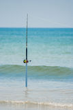 Pêche Pôle de vague déferlante Image libre de droits
