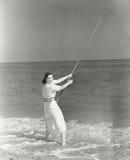 Pêche Pôle de vague déferlante photographie stock libre de droits