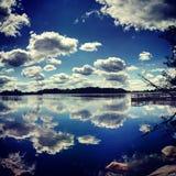 Pêche par le lac Images libres de droits