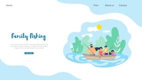 Pêche plate de famille d'illustration de bannière de vecteur illustration libre de droits