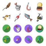 Pêche, poisson, crochet, crochet Pêche des icônes réglées de collection dans la bande dessinée, Web plat d'illustration d'actions Photographie stock libre de droits