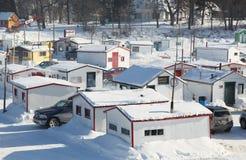 Pêche pour le tomcod au Québec Photo stock
